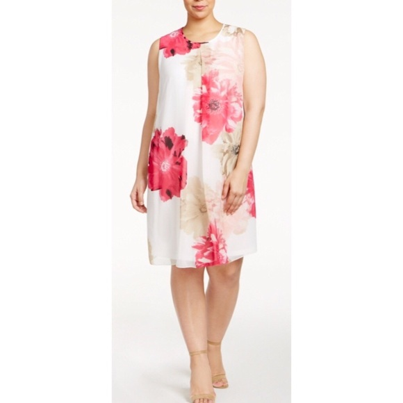2ad67bffe74 Calvin Klein Plus Size Floral Print Shift Dress 2X